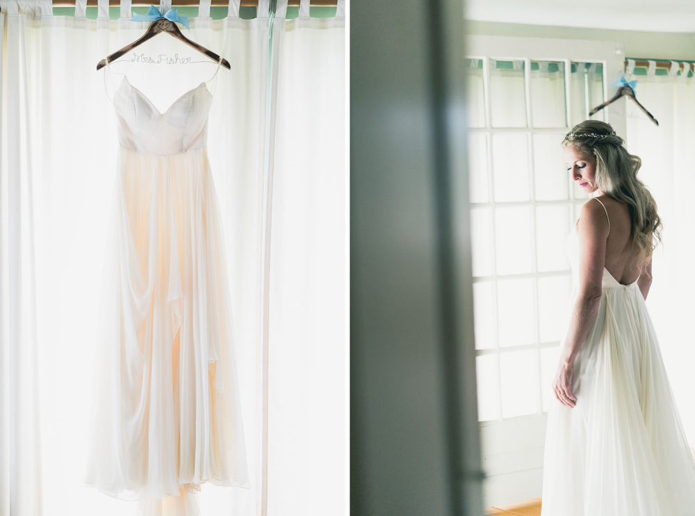 Off-white chiffron wedding dress shot