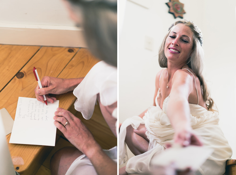 Bride writing vows before wedding