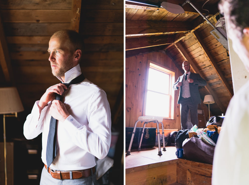 Groom getting ready in farm house themed fall wedding