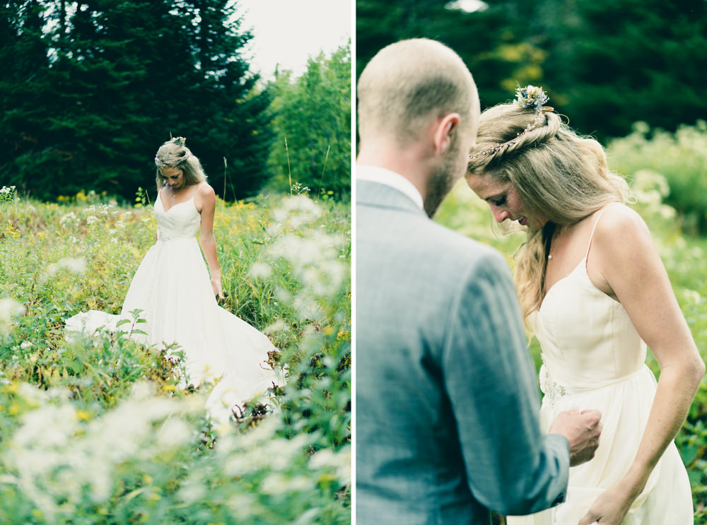 Bride standing in field of flowers for wedding photoshoot in Vermont