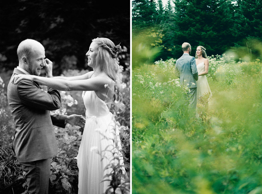 Groom crying during first look in Vermont farm field