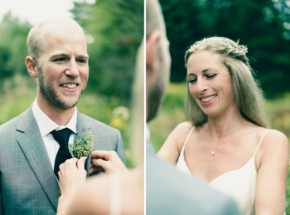 Nature themed first look at Vermont fall wedding