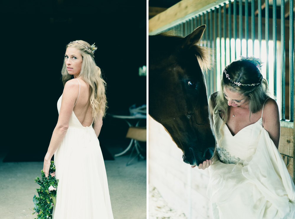 Bride and horse themed photoshoot in Vermont