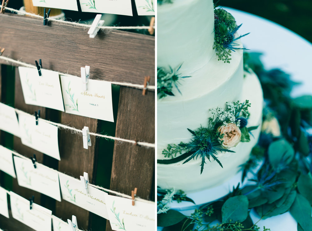 Natured inspired farm theme table seating chart and wildflowers wedding cake inspiration