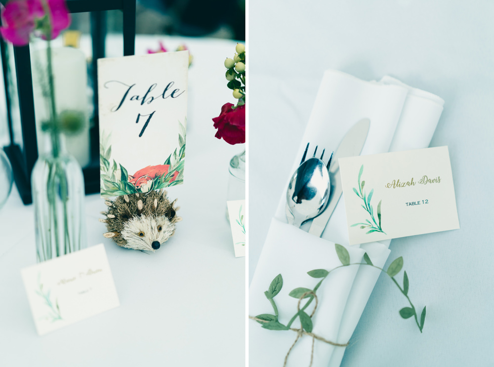 Wedding hedgehog center piece table number holder