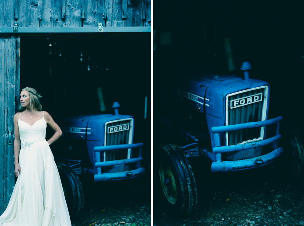 Vermont farm theme wedding with blue Ford 3600 Tractor